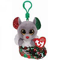TY: Мягкая игрушка-брелок Beanie Boo's, Мышь в носке с пайетками, 10см