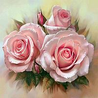 Картина по номерам (30Х30) РОЗОВОЕ ТРИО (20 цветов)