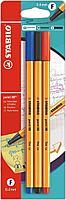 Набор капиллярных ручек линеров STABILO point 88 0.4 мм, 3 цвета в блистере