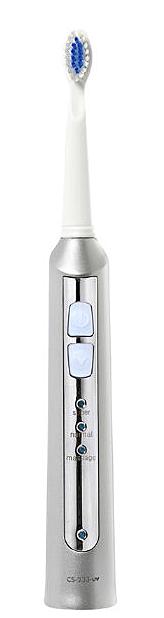 CS Medica: Электрическая звуковая зубная щетка CS Medica CS-233-UV с зарядным устройством, белый-серебристый - фото 1