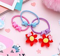 """Выбражулька: Комплект детский """"Выбражулька"""" 4 предмета: 3 резинки, клипсы, бабочка на цветке, цвет МИКС"""