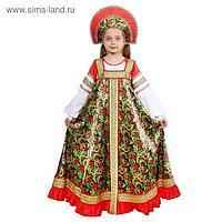 Русский народный костюм «Рябинушка», платье длинное, кокошник, бомбоны на шнурке, р. 32, рост 122-128 см