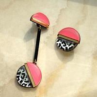 Серьги из акрила 'Леопард' асимметрия, цвет розовый