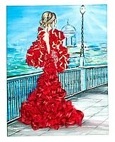 "Мозаика из пайеток на холсте ""Девушка в красном"""