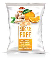 Карамель леденцовая SUGAR FREE Arancia, Zenzero, Curcuma Без сахара (Апельсин, имбирь, куркума) 80гр