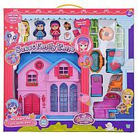 Игровой набор кукольный домик со светом и звуком, мебель, 3 куклы, для девочек /оранжевый