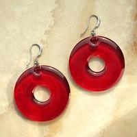 Серьги из акрила 'Тор' круг, цвет бордовый