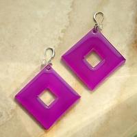 Серьги из акрила 'Ромбы', цвет фиолетовый