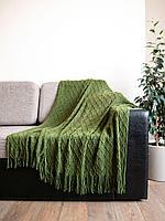 Плед вязаный Серо-зеленый. 127*152 см