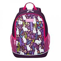 Рюкзак школьный для девочки Кролики, фиолетовый