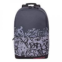 Рюкзак подростковый для мальчика Надписи, темно-серый