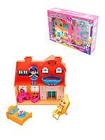 Игровой набор кукольный домик со светом и звуком, мебель, 2 куклы, для девочек 60218A