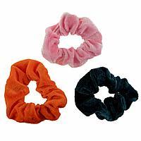 Lukky: Lukky Fashion резинки текстильные, бархат, 3 шт (морская волна, оранжевый, нежно-розовый)