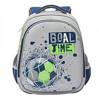 Ранец школьный для мальчика Футбол серо-темно-синий