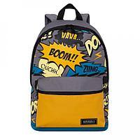 Рюкзак подростковый для мальчика Boom серо-сине-желтый