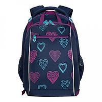 Рюкзак школьный с мешком для девочки Сердечки синий