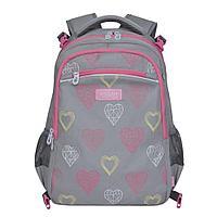 Рюкзак школьный с мешком для девочки Сердечки серый
