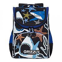 Ранец школьный с мешком для мальчика черно-синий