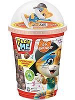 PLAY ME 44 Котенка Кукурузные шарики (какао) с игрушкой 50г