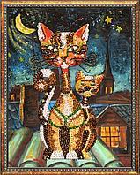 """Мозаика из пайеток на холсте """"Коты"""""""