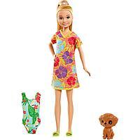 Barbie: Кукла Barbie с питомцем, в платье в цветочек