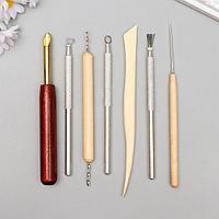 Инструменты для творчества набор 7 шт дерево, металл 14 см 20,8х8 см.