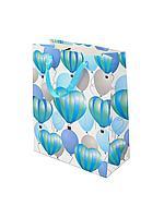 """Пакет бумажный """"Воздушные шары - сердца"""". 32x26x12 см."""