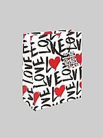 """Пакет бумажный """"Любовь"""". Черно-белый 32x26x12 см."""
