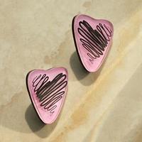 Серьги из акрила 'Свидание' линии, цвет черно-розовый