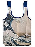 Сумка-шопер компактная шелковая/Hobobag. АРТ.Большая волна в Канагаве.Хокусай.