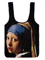 Сумка-шопер компактная шелковая/Hobobag. АРТ.Девушка с жемчужной сережкой.Ян Вермеер.