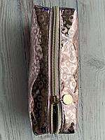 Пенал Леопард /пенал-косметичка / школьный пенал/ на молнии /для девочки /розовый /одно отделение