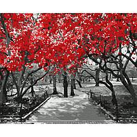 Картина по номерам (40х50) КРАСНАЯ САКУРА (15 цветов)