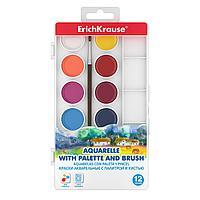 Краски акварельные ErichKrause12 цветов с палитрой и кистью