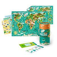 """MON: Игровой набор """"Животные Мира"""": пазл 40 эл. и карточки с заданиями"""