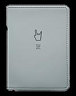 """Обложка для паспорта, Infolio Study, 100х135 мм, искусственная кожа. Коллекция """"Rock-n-roll"""", серый"""