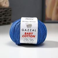 Пряжа 'Baby Cotton' 60 хлопок, 40 акрил 165м/50гр (3431 синий) (комплект из 5 шт.)