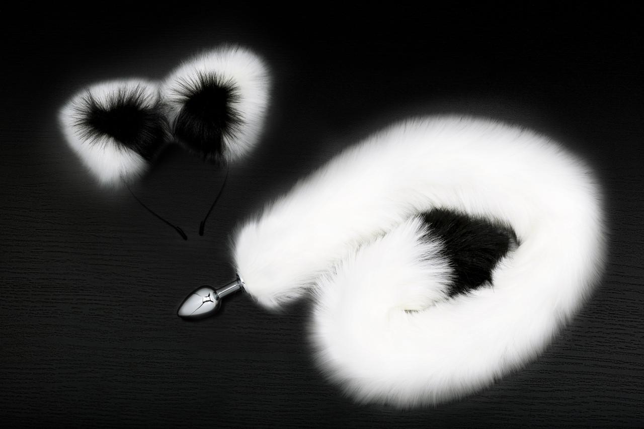 Анальная пробка с хвостом и ушками, L пробки 7.0 см, D 2.8 см, цвет чёрный с белым