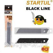 Лезвия черные сменные сегментированные 18мм 10шт BLACK LINE STARTUL