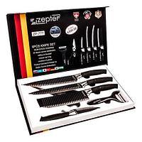 Набор кухонных ножей с ребристой поверхностью ZEPTER [6 предметов с топориком] (Черный)