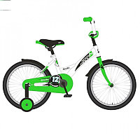 "Велосипед NOVATRACK 14"" STRIKE белый-зелёный, тормоз нож, крылья корот, полная защ.цепи"