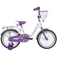 "Велосипед NOVATRACK 16"" BUTTERFLY белый-фиолетовый, тормоз нож, крылья и багаж хром, корз, полн защ."