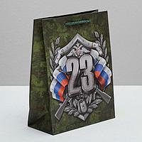 Пакет ламинированный вертикальный «Настоящий Защитник!», MS 18 × 23 × 10 см