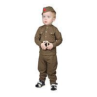 Костюм военного для мальчика: гимнастёрка, галифе, пилотка, трикотаж, хлопок 100%, рост 92 см, 1,5-3 года