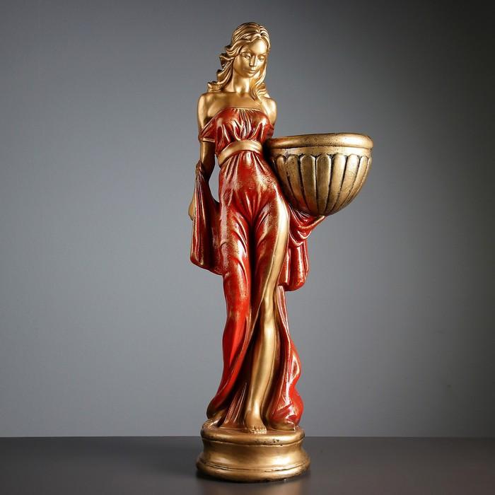 """Фигура с кашпо """"Девушка в платье"""" бронза красный  84см"""