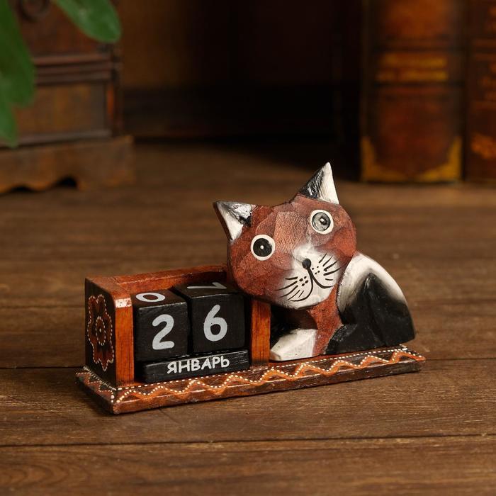 """Календарь настольный дерево """"Кошечка"""" 17х5х10 см"""