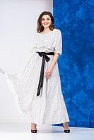 Женская летняя белая платье и пояс Anastasia 628 молочный 48р.