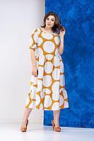 Женское летнее из вискозы большого размера платье Anastasia 634 горчица 52р.