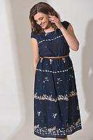 Женское летнее хлопковое синее платье Angelina 366 синий 44р.