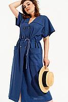 Женское летнее синее платье ELLETTO 1835 синий 48р.